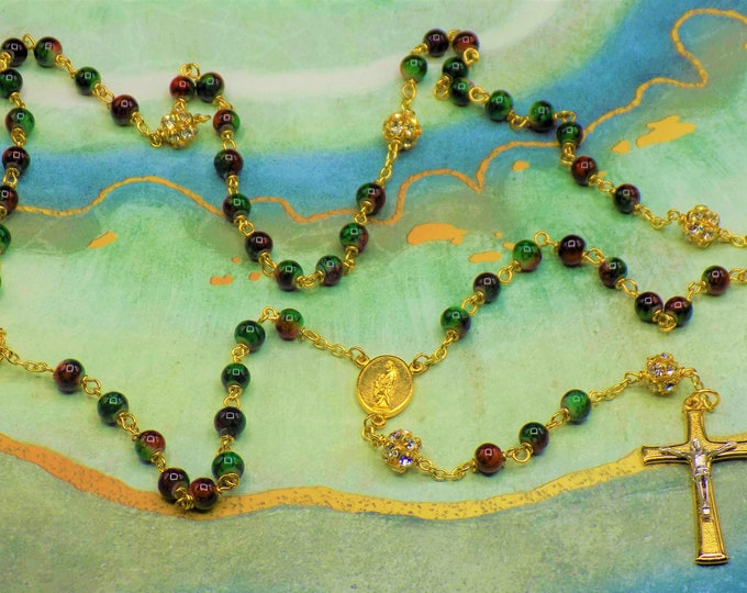 Christmas Rosaries - Glass Marble Green & Red Beads - Rhinestone Father Beads - Ital Holy Family-Spirit Center - Ital Two Tone Gold Crucifix