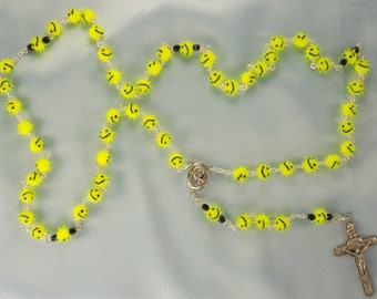 Emoticon Rosaries - Soft Rubber Fuzzy Emoticon Beads - Czech Crystals - Mary & Child Center with Soil from Jerusalem-Italian Angels Crucifix