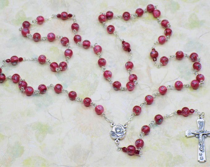 Lamp Glass Flower Rosary - Czech Burgundy Lamp Glass Flower Design Beads - Italian Rose and Mary Center - Italian Roses and Crown Crucifix