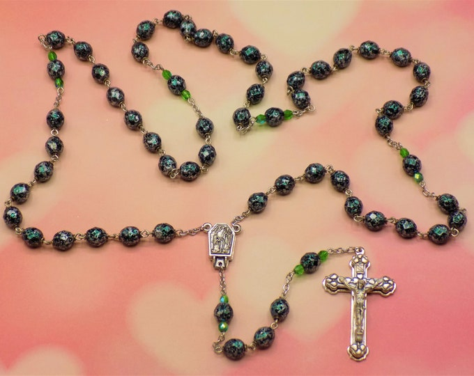 Green Confetti Rosary - Czech Green Glass Beads with Black and Silver Confetti Decoration -  Lourdes, France Center - Italian Heart Crucifix