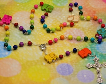 Elephant Rosary - Rainbow Colored Hand-Waxed Cheesewood Beads - Stone Elephant Father Beads - Mary & Child Center - Eucharistic Crucifix