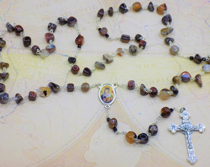 Red and Black Agate Rosaries - Semi Precious Red & Black Agate Nugget Beads - Italian Holy Centers - Italian Silver Eucharistic Crucifixes