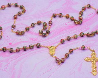 Pink Cloisonne Rosary - Pink 8mm Cloisonne Metal Beads - Italian Our Lady of Lourdes Water Center - Italian Filigree Crucifx