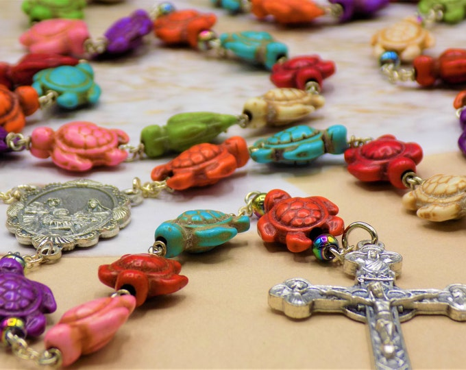 Multi Color Turtle Rosary - Multi Color Stone Turtle Beads - Hematite Accent Beads -Italian Holy Family Center -Italian Eucharistic Crucifix