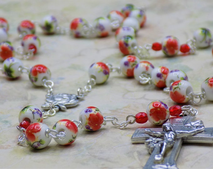 White & Red Flower Rosary - White and Red Flower Ceramic Beads - Italian Silver Rose and Mary Center - Italian Silver Starburst Crucifix