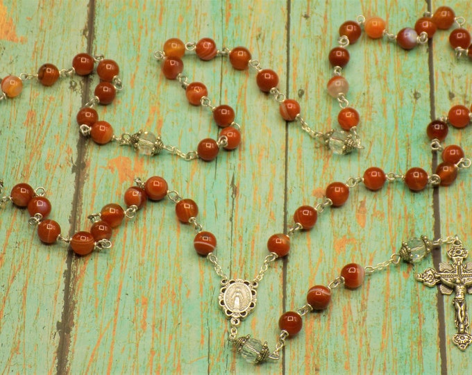 Red Agate Rosary - Red Agate Gemstone Beads - Czech Fancy Cut Crystal Father Beads - Italian Mary Immaculate Center - Italian Crucifix