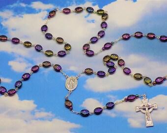 Shamrock Rosary - Czech Purple Iris Shamrock Glass Beads - Italian Silver St Patrick & St Bridget Center - Italian Silver Celtic Crucifix
