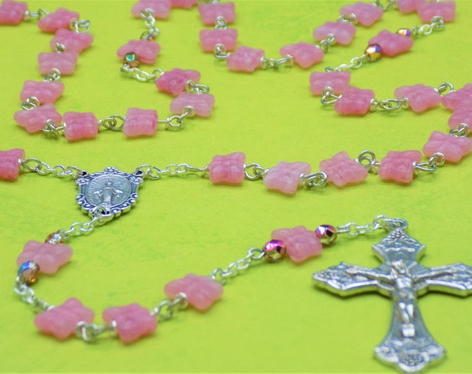 Pink Butterfly Rosary - Czech Pink Crystal Butterfly Beads - Italian Silver Miraculous Center - Italian Silver Grapes and Vine Crucifix