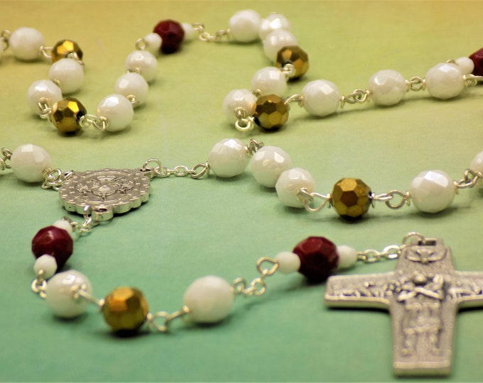 Vatican Pope Rosary - Czech White, Gold & Red 8mm Beads - Italian Vatican Center - Italian Good Shepherd Crucifix - Your Choice Pope Medal