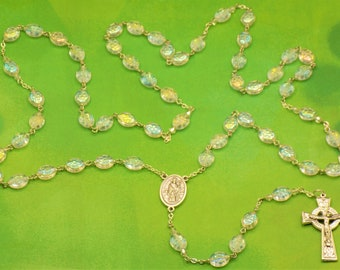 Shamrock Rosary - Czech AB Clear Shamrock Glass Beads - Italian Silver St Patrick & St Bridget Center - Italian Silver Celtic Crucifix