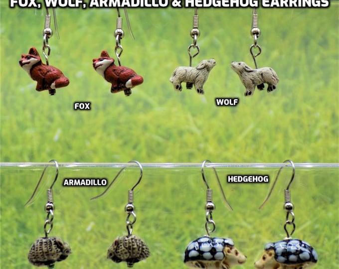 Fox, Wolf, Armadillo & Hedgehog 3D Earrings - Fox Ceramic Earrings - Wolf Ceramic Earrings - Armadillo Ceramic Earrings - Hedgehog Earrings