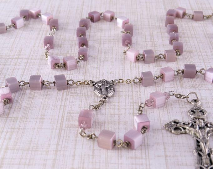 Purple Iridescent Crystal Cube Rosary - Purple Iridescent Crystal Beads - Italian Our Lady of Medjugorje Center - Italian Filigree Crucifix
