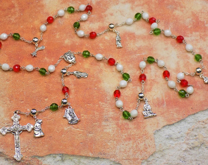 Nativity Christmas Rosary - Czech Red, Green and White Glass 8mm Beads - Silver Nativity Charms - Mary with Earth Center - Italian Crucifix
