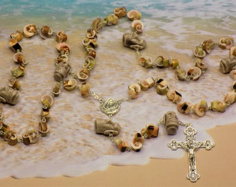 Easter Island Sea Shell Rosary - GreenEver Shell Beads - Easter Island Moai Head Beads - St Theresa Relic Center - Eucharistic Crucifix