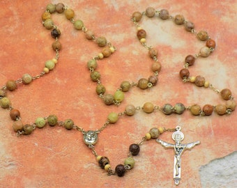 Soapstone Amber Rosary - Semi Precious Soapstone Amber 8mm Beads - Mary and Child Center with Soil from Jerusalem - Holy Trinity Crucifix