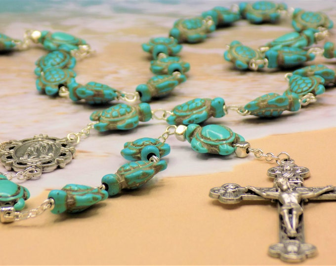 Turtle Rosaries - Turquoise Blue & Multi Color Stone Turtle Beads - Italian Lourdes and Holy Family Centers - Italian Eucharistic Crucifixes