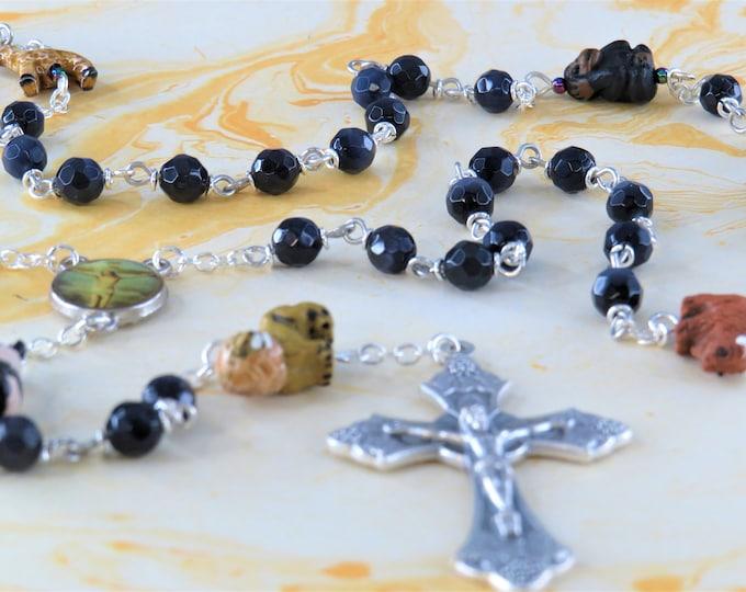 Noah's Ark Rosary -  Czech Purple Glass Beads - Hand Painted Ceramic Animal Beads - Italian Jesus Center - Italian Grapes and Vine Crucifix