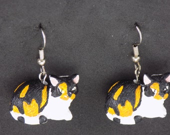 Cat Earrings - Calico Cats - Brown Cats  - Black-Green Eyed Cats - Siamese Cats - White Cats - Black Cats - 6 Styles to Choose From