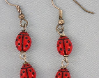 Ladybug Earrings - Red - Green - Yellow - Pink - Beige - Cobalt Blue - Transparent Green - 7 Different Colors to Choose From