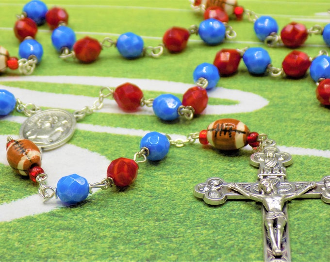 Red & Blue Football Rosary - Czech Opaque Red and Blue Glass Beads - Ceramic Footballs - St Sebastian Center -Italian Eucharistic Crucifix