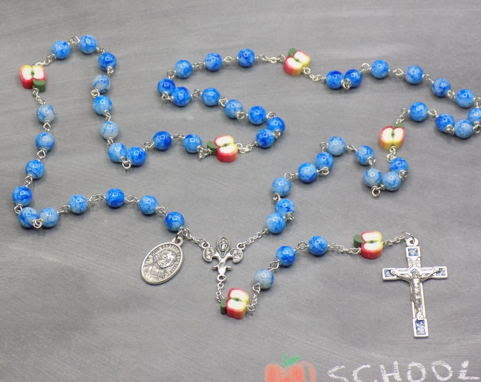 Teacher Rosaries - Blue & White or Red Glass Beads - Polymer Apple Beads - Italian Centers and Crucifixes -St John Baptist De La Salle Medal