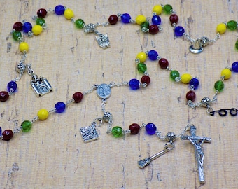 Harry Potter Rosary - Czech Scarlet, Blue, Green & Yellow Glass Beads - Harry Potter Charms - Italian Fatima Center - Italian Papal Crucifix