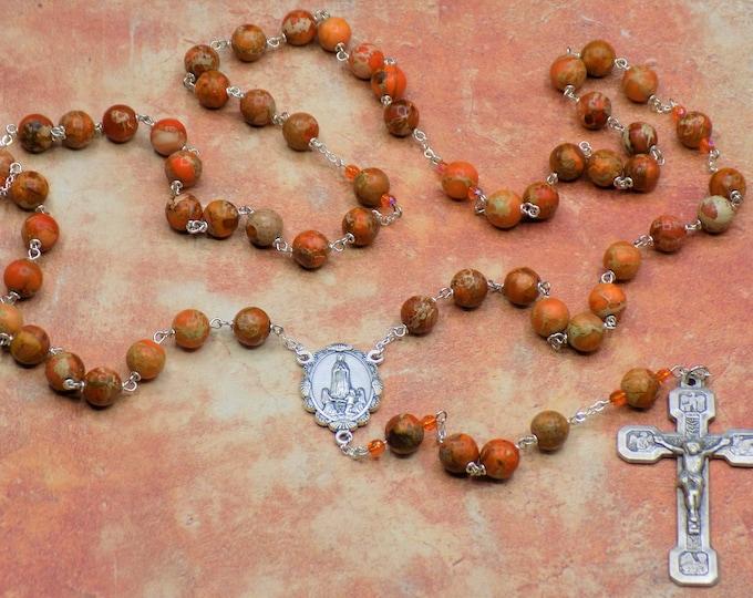 Orange Imperial Jasper Rosary - Semi Precious Org Imperial Jasper Beads - Italian OL Fatima Center - Italian Stations of the Cross Crucifix