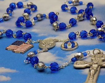US Air Force Military Rosary - Czech Blue and Silver Crystal Beads - St Michael Center - Air Force Charm -Italian Stations of Cross Crucifix