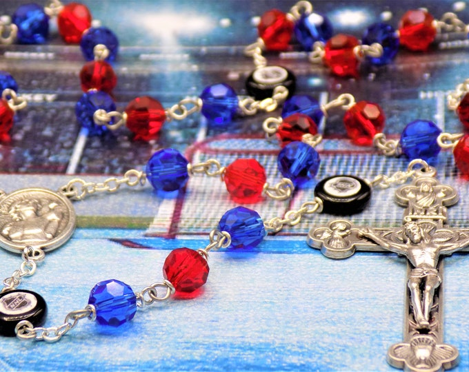 Hockey Rosary - Czech 8mm Blue & Red Glass Beads - Czech Hockey Pucks - Italian Silver Saint Sebastian Center - Italian Eucharistic Crucifix