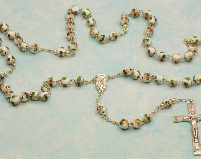 White Cloisonne Rosary - White 8mm Cloisonne Metal Beads - Italian Mary & Child-Our Lady of Fatima Center - Italian Filigree Crucifix