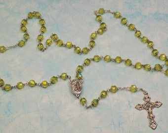 Cathedral Olive Rosary - Czech Cathedral Olive Aurora Borealis Beads - Center Contains Water from Lourdes, France - Italian Silver Crucifix