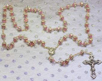 Rhinestone and Pink Cats Eye Rosary - Clear Rhinestone Beads - Pink Cats Eye Beads - Mary Center with Jerusalem Soil - Italian Crucifix