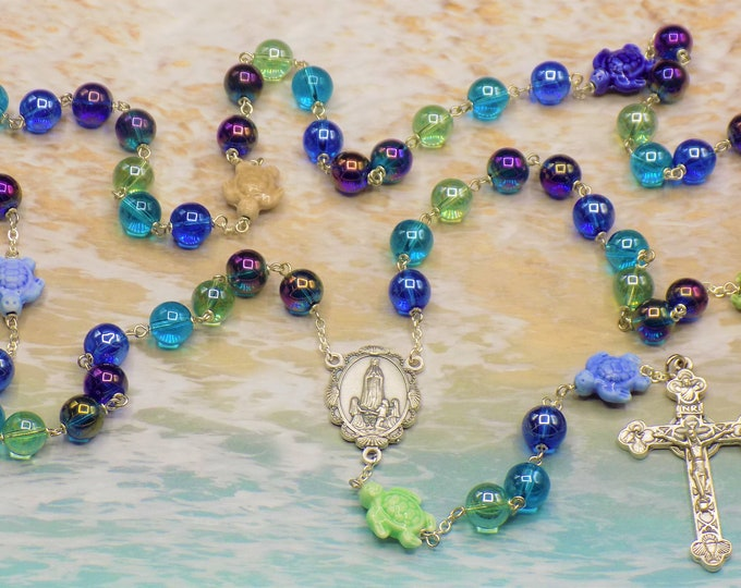 Turtle Rosary - Ceramic Multi-Color Turtle Beads - Multi-Color AB Round Glass Beads - Italian Fatima Center - Italian Eucharistic Crucifix