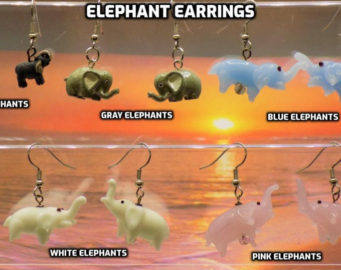 Elephant 3D Earrings - Gray - Lt Gray - Blue - White - Pink - 5 Different Styles/Colors to Choose From