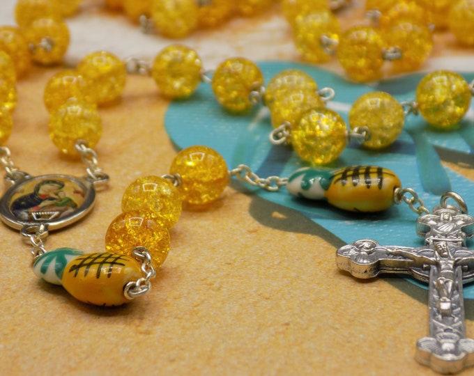 Quartz & Pineapple Rosary - Yellow Crackle Quartz Beads - Ceramic Pineapple Beads - -  Ital Perpetual Help Center -Ital Eucharistic Crucifix
