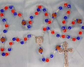 Basketball Rosary - Czech Blue & Orange Glass Beads - Ceramic Basketballs - Italian Holy Face Center -Italian Stations of the Cross Crucifix