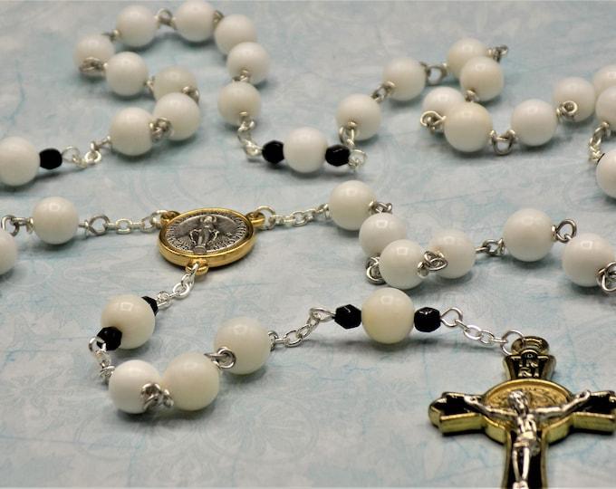 White Alabaster Agate Rosary - Semi Prec White Alabaster Agate Beads - Czech Father Accent Beads - Immaculate Center - St Benedict Crucifix