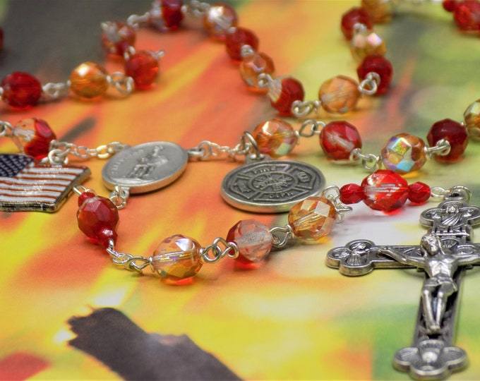 Fireman Rosary - Czech Red, Orange, Amber, Clear Crystal Beads - Italian Crucifix - St Florian Center - US Flag Charm - Firefighter Prayer