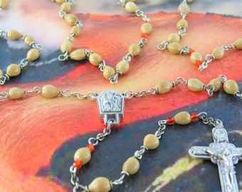 Job's Tears Tan Rosary - Natural Job's Tears Tan Beads - Italian Silver Our Lady of Lourdes with Water Center-Italian Silver Angels Crucifix
