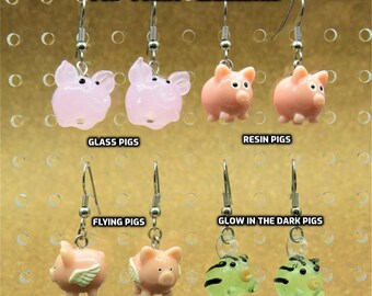"""Pig Earrings - Pink Glass Pigs - Pink Pigs - Flying Pigs - """"Glow in the Dark"""" Black Stripe Pigs - 4 Different Styles to Choose From"""