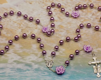 Pearl & Flower Rosaries - Purple or White Glass Pearl Beads - Polymer Clay Flower Beads -Italian Medugorje Centers -Italian Angel Crucifixes