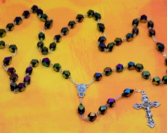 Hand Cut Crystal Rosary - Hand Cut Faceted Black Crystal Beads - Fatima, Portugal Center with Water - Italian Silver Filigree Crucifix