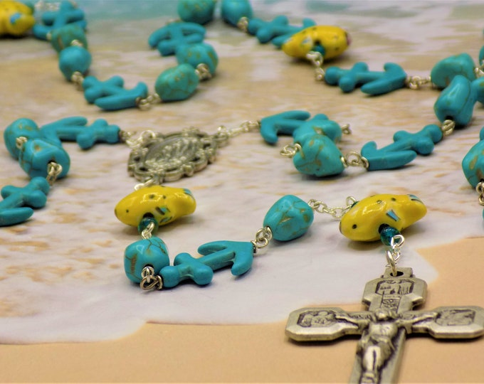 Fish & Nautical Rosary - Yellow Fish Beads - Turquoise Nugget and Anchor Beads - Our Lady of Lourdes Center - Stations of the Cross Crucifix