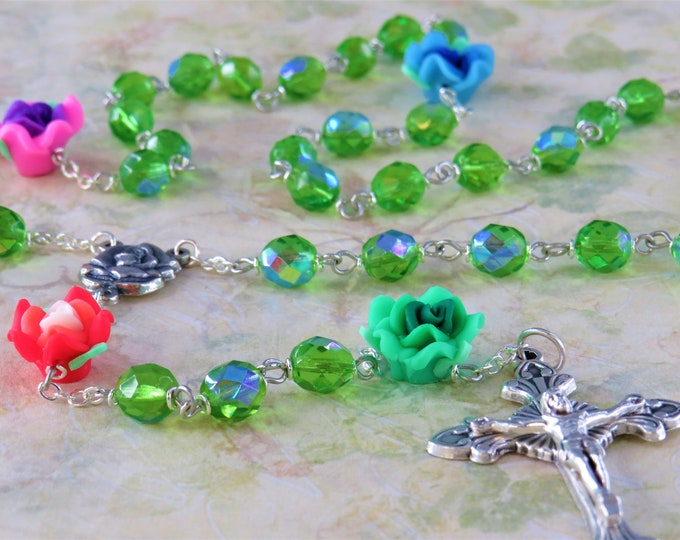 Flower Garden Rosary - Handmade Flower Polymer Beads - Czech AB Green Glass 8mm Beads - Rose and Mary Color Center - Sunburst Flare Crucifix
