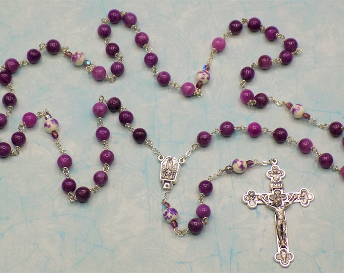 Purple Quartzite Rosary - Semi Precious Purple Quartzite Beads -Ceramic Beads-Italian Our Lady of Fatima Center-Italian Eucharistic Crucifix