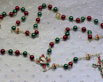 Christmas Poinsettia Rosary-Red and Green Glass Pearl Beads-Red Rhinestone Beads-Silver Plated Pewter Christmas Poinsettia Center & Crucifix