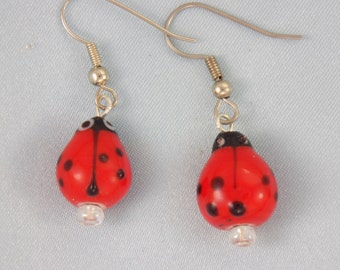 Ladybug Earrings - Red - Green - Blue - Yellow - Orange - White - 7 Different Colors & Styles to Choose From