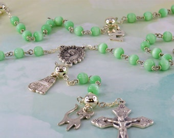 Cat Rosary - Green Cats-Eye Glass Beads - Pewter Father Beads - Silver Cat Charms - Italian Mary Center - Italian Grapes & Vine Crucifix