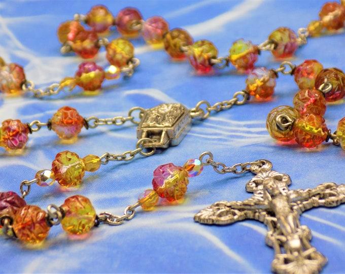 Czech Fuchsia and Lemon Rosebud Rosary - Czech Fuchsia & Lemon Rosebud Glass Beads, Water from Lourdes Center, Italian Filigree Crucifix
