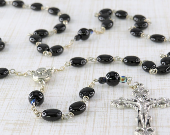 Black Agate Rosary - Semi Precious Black Agate Beads - Mary & Child Center that Contains Soil from Jerusalem - Italian Filigree Crucifix